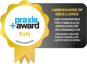 "Die Zahnarztpraxis ZAHNKULTUR) in Köln ist ""Ambassador of Excellence"" des praxis+ award 2019"