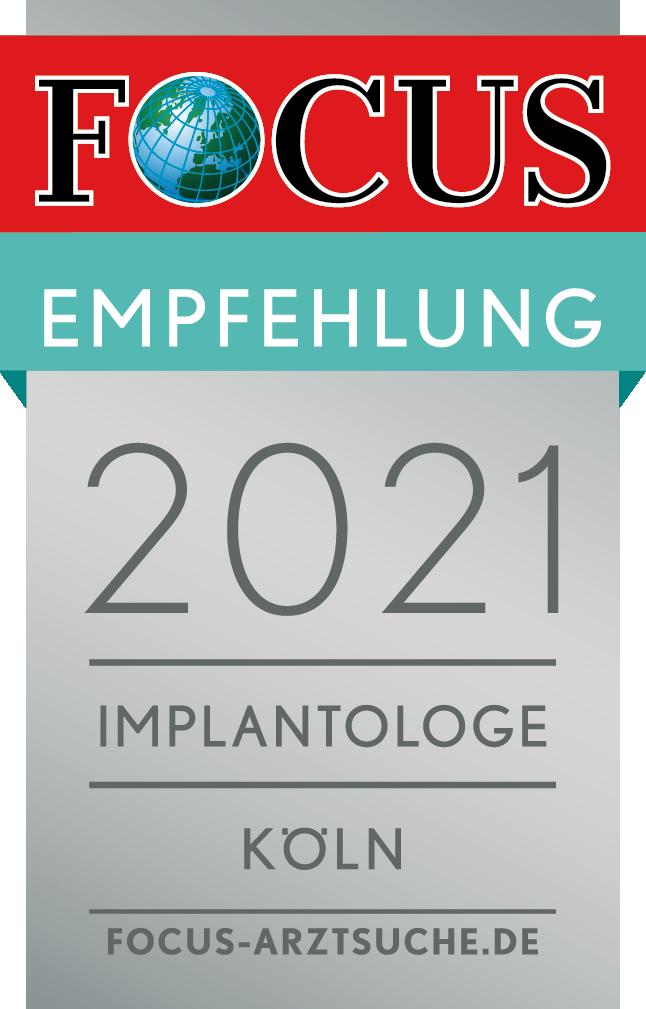 Implantologie Köln - Dr. Martin Schneider erhält die FOCUS Empfehlung 2021 als Implantologe Köln - Empfohlene Ärzte in der Region