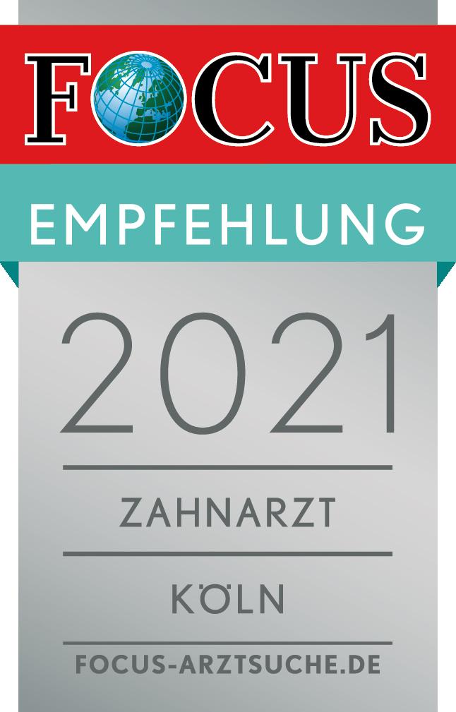 Zahnarzt Köln - Dr. Markus Bechtold erhält die FOCUS Empfehlung 2021 als Zahnarzt Köln - Empfohlene Ärzte in der Region